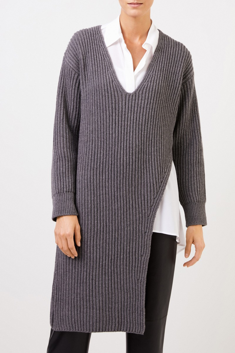 Stella McCartney Langer Rippstrick-Cashmere-Pullover Grau Melange