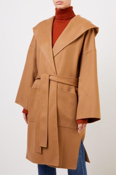 Loewe Wool Cashmere Coat with Hood Brown