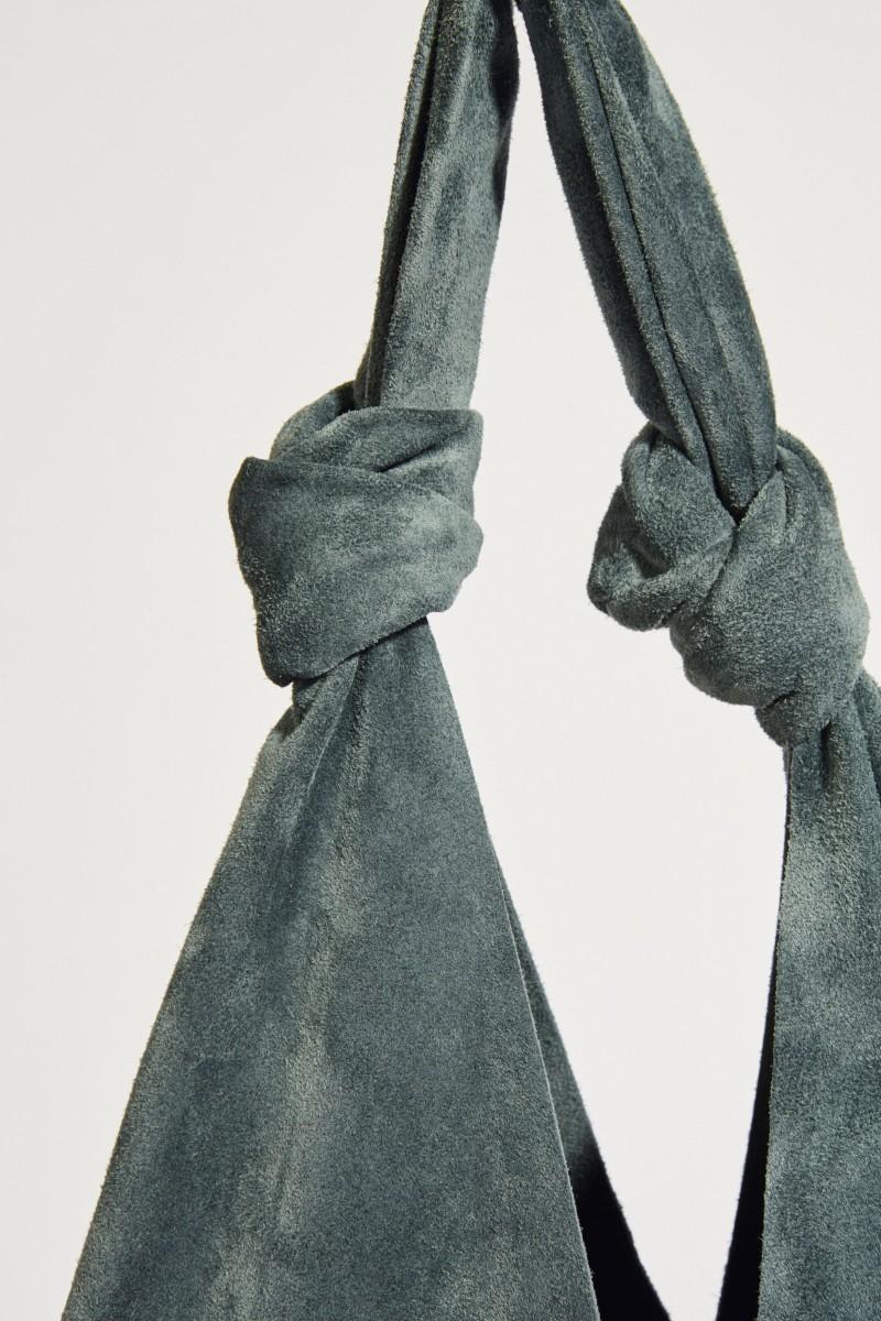 Veloursleder-Shopper 'Bindles Double Knots' Petrol