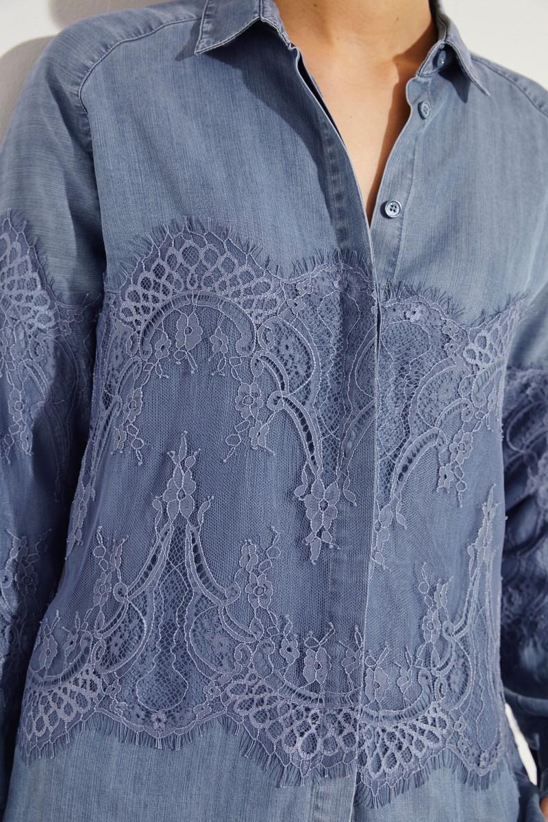 Bluse mit Spitzendetails Blau
