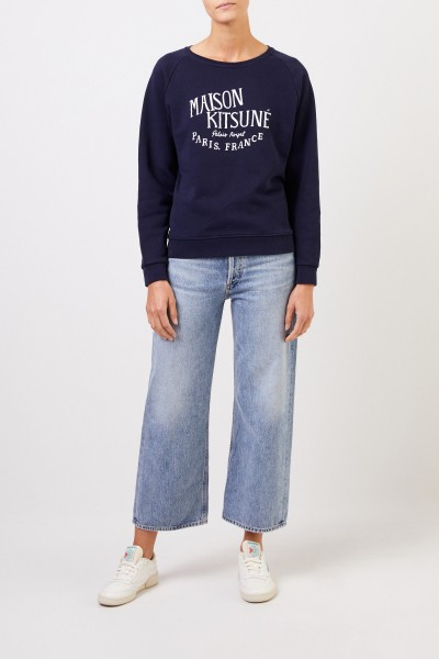 Maison Kitsuné Sweatshirt 'Palais Royal' with logo lettering Navy Blue