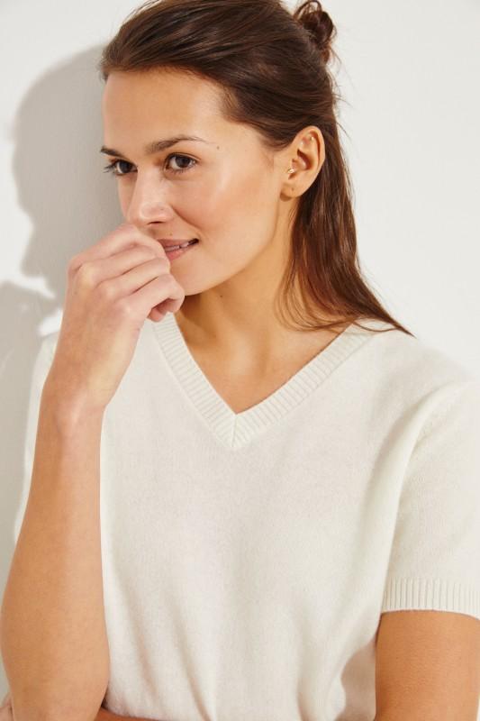 Kurzarm Cashmere-Pullover mit V-Neck Crème