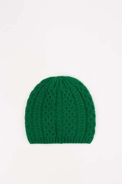 Uzwei Cashmere hat with cable stitch Green