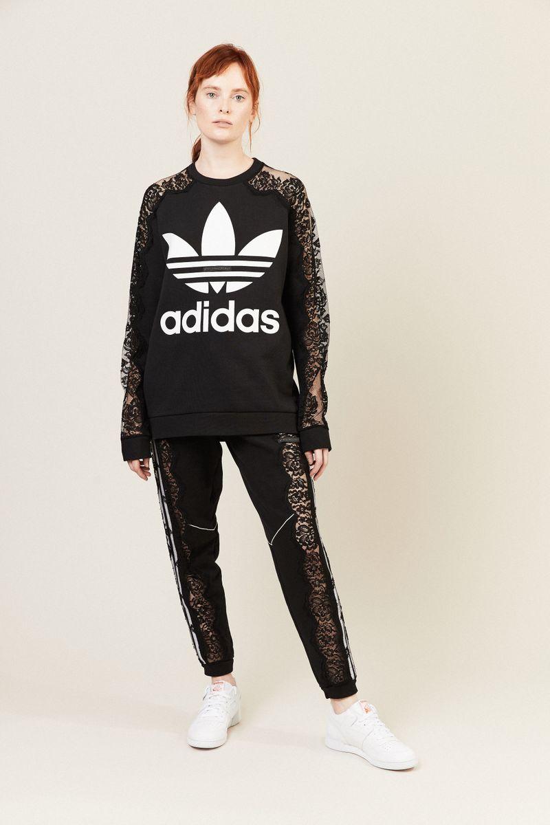 Sweater mit Spitzendetails Schwarz