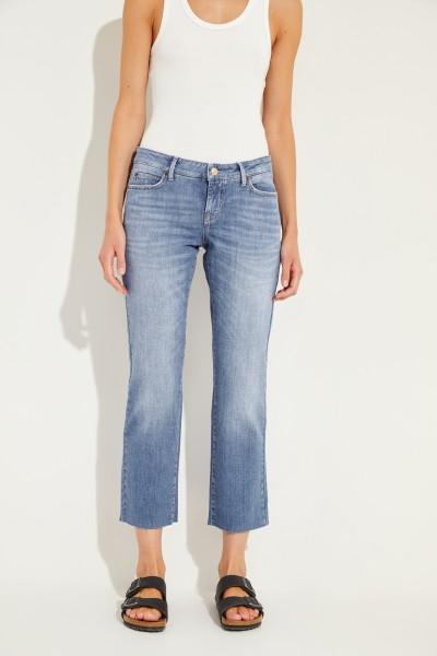 Jeans 'Loreena' mit offenen Saumkanten Blau