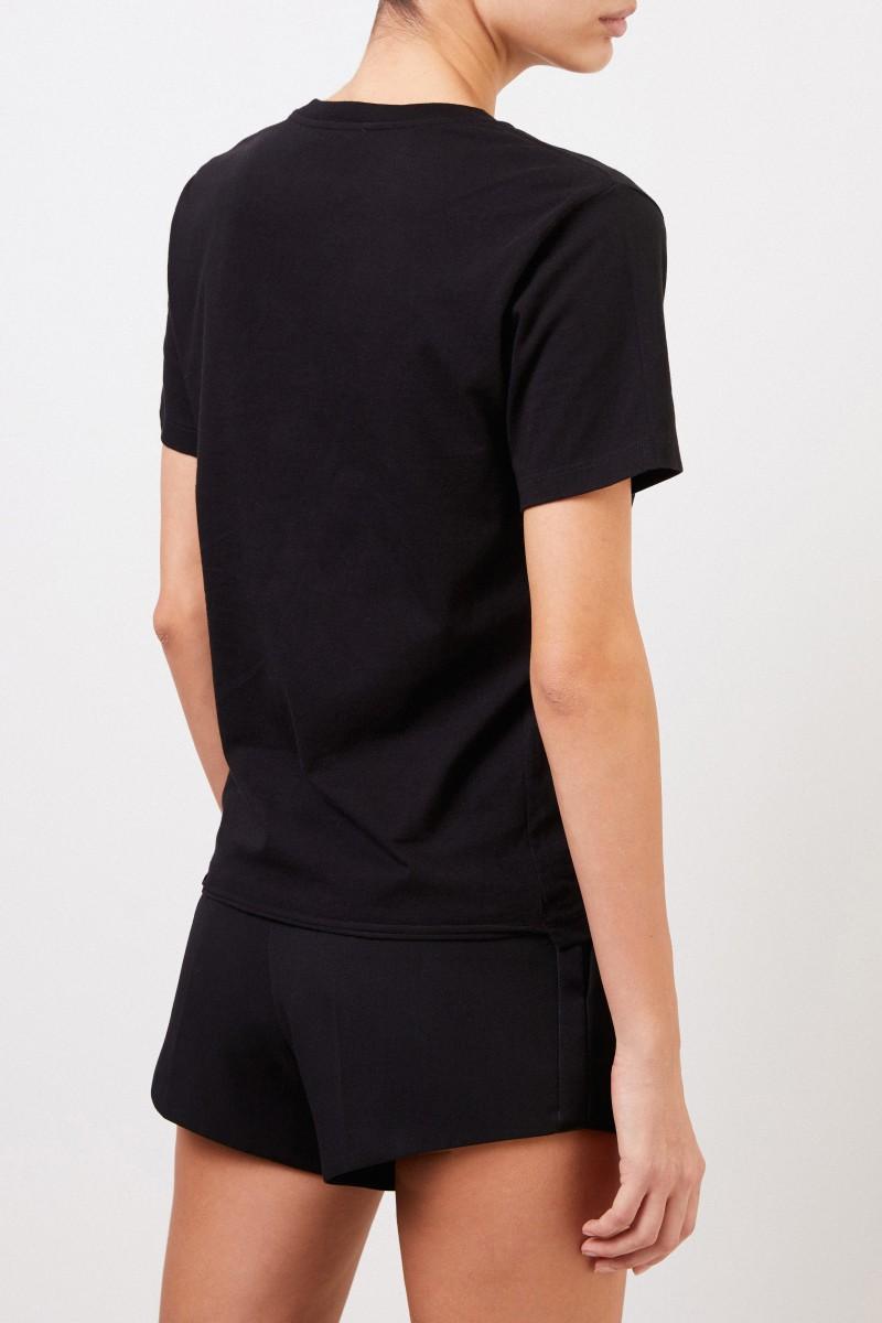 Baumwoll-Shirt mit Logo-Print Schwarz/Weiß