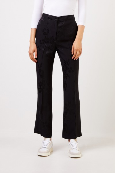 Etro Silk trousers with floral pattern Black