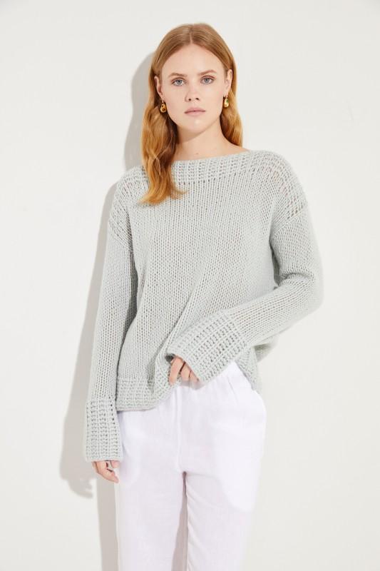 Handstrick-Cashmere-Pullover Salbei