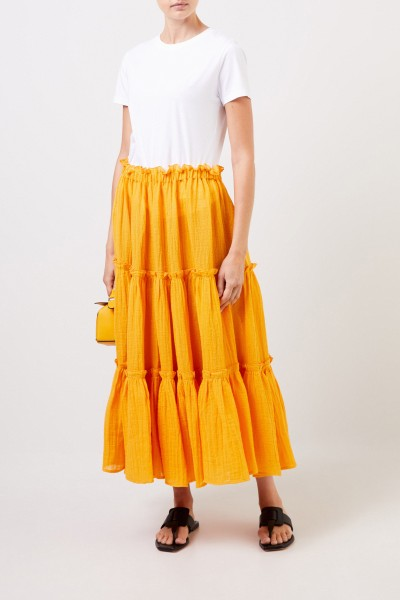 Midi-linen skirt with frills Orange