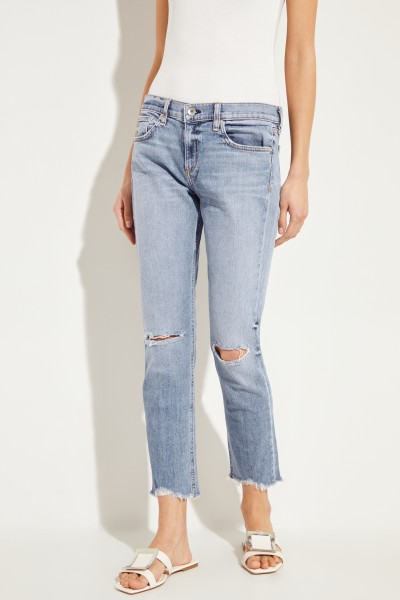 Jeans 'Ankle Dre' im Used-Look Blau