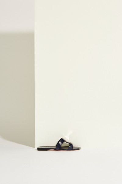 Leather-Mules 'Bikiviviv' with Buckle Blue