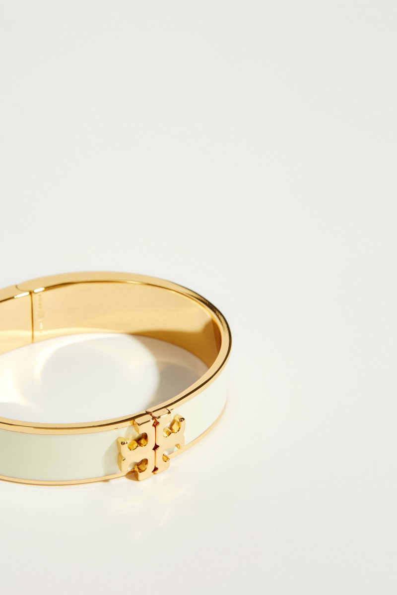 Emaille-Armreif mit Logo Créme/Gold