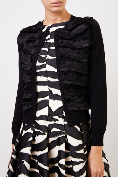 Oscar de la Renta Short cardigan with fringe detail Black