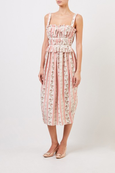 Brock Collection Silk dress with print Rosé/Multi