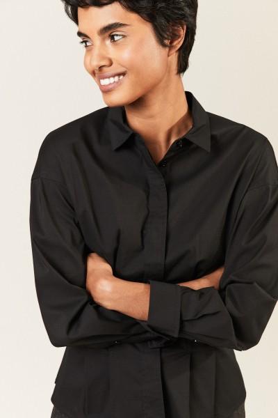 Bluse mit Faltendetails Schwarz