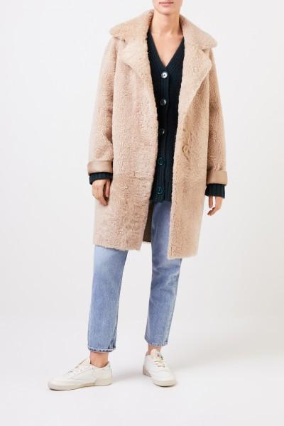 Furry Lambskin reversible coat Nude