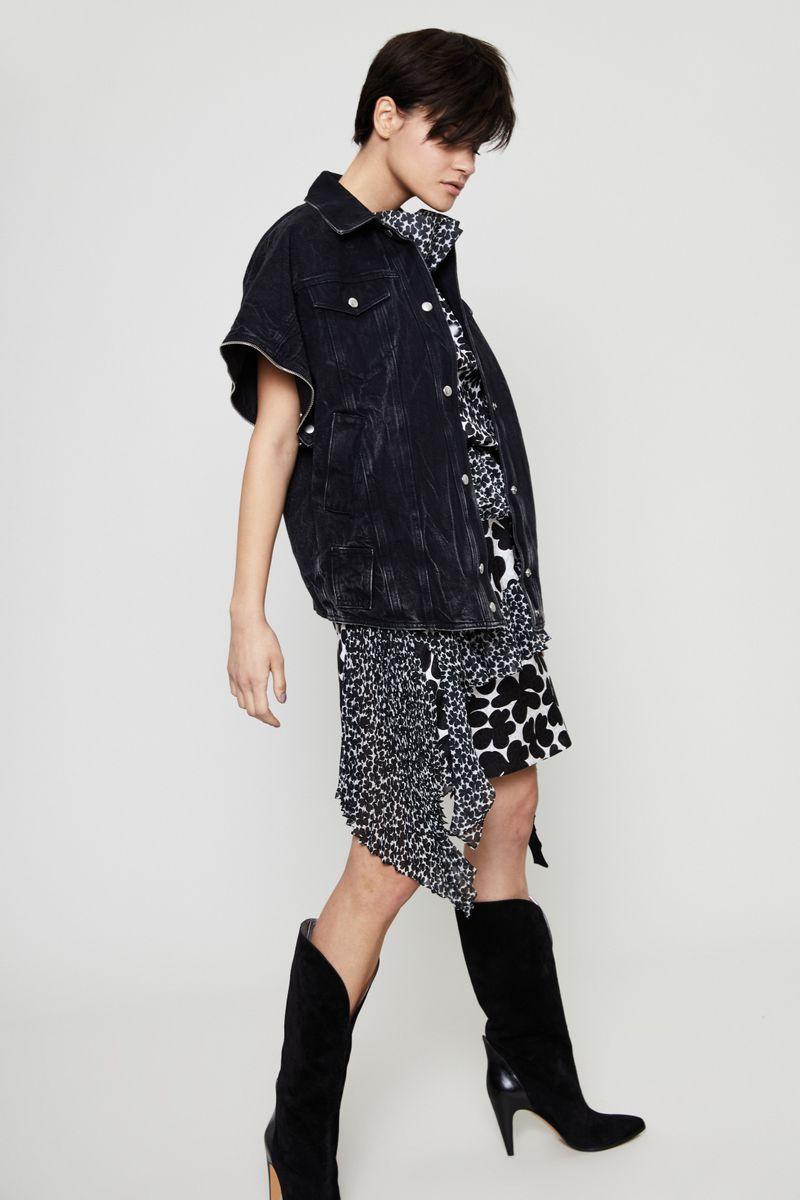 Seidenkleid mit Blumenprint Schwarz/Weiß