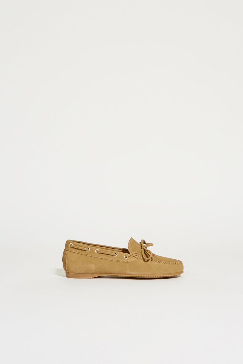 Veloursleder-Schuh Beige