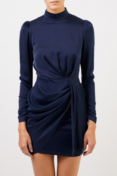 Zimmermann Short silk dress with gathering Blue