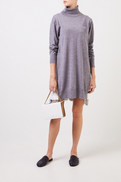 Sacai Wool dress with lace detail grey/cream