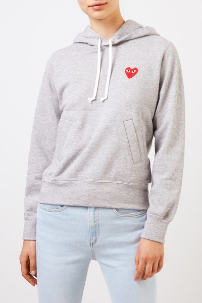 Comme des Garcons Play Hoodie with heart emblem Grey