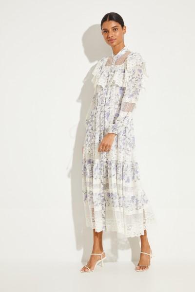 Midi-Kleid mit floralem Print und Spitze Weiß/Blau