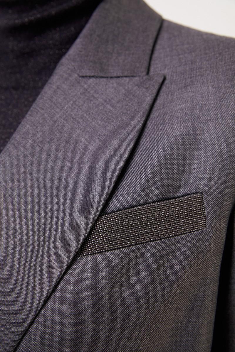 Brunello Cucinelli Woll-Hemdblusenkleid mit Wickeldetail Anthrazit