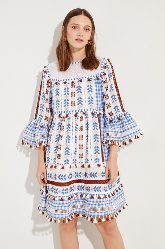 DODO BAR OR Midi-Kleid aus Baumwolle mit Troddeln 'Marioli' Multi