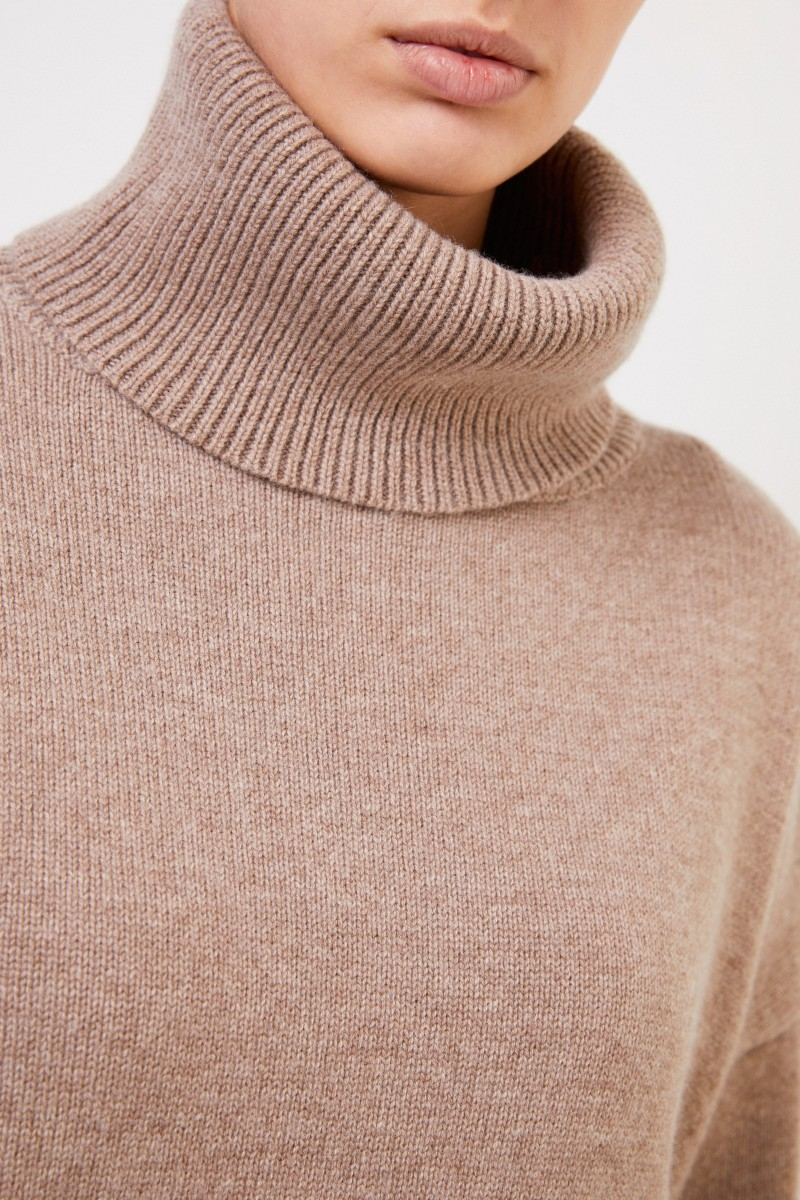 Co Woll-Cashmere-Pullover mit Turtleneck Taupe