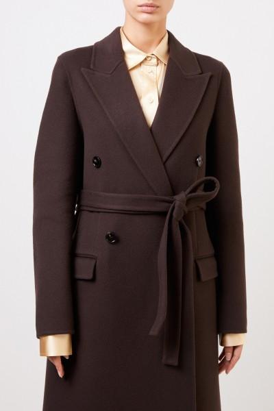 Bottega Veneta Long wool coat with belt Dark Brown
