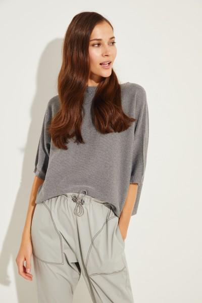 Baumwoll-Pullover mit Lurexdetails Grau