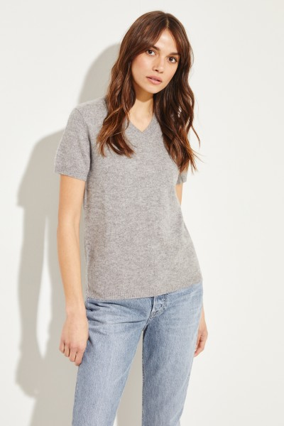 Short sleeve cashmere sweater with V-neck Grey