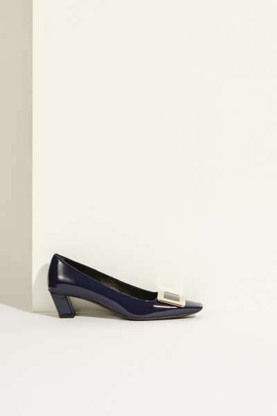 Patent leather pump 'Belle Vivier' with buckle Blue