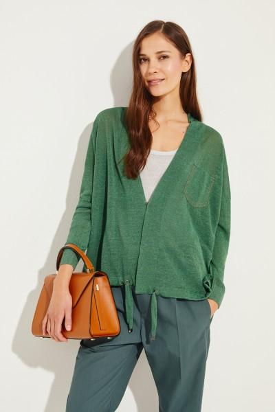 Leinen-Cardigan mit Perlenverzierung Grün