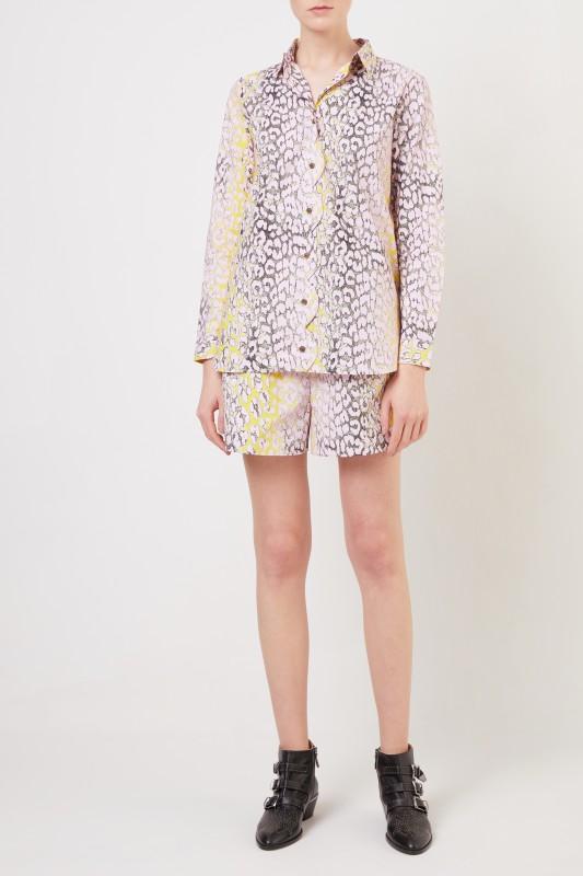 Ganni Baumwoll-Shorts mit Leoprint Violett/Gelb