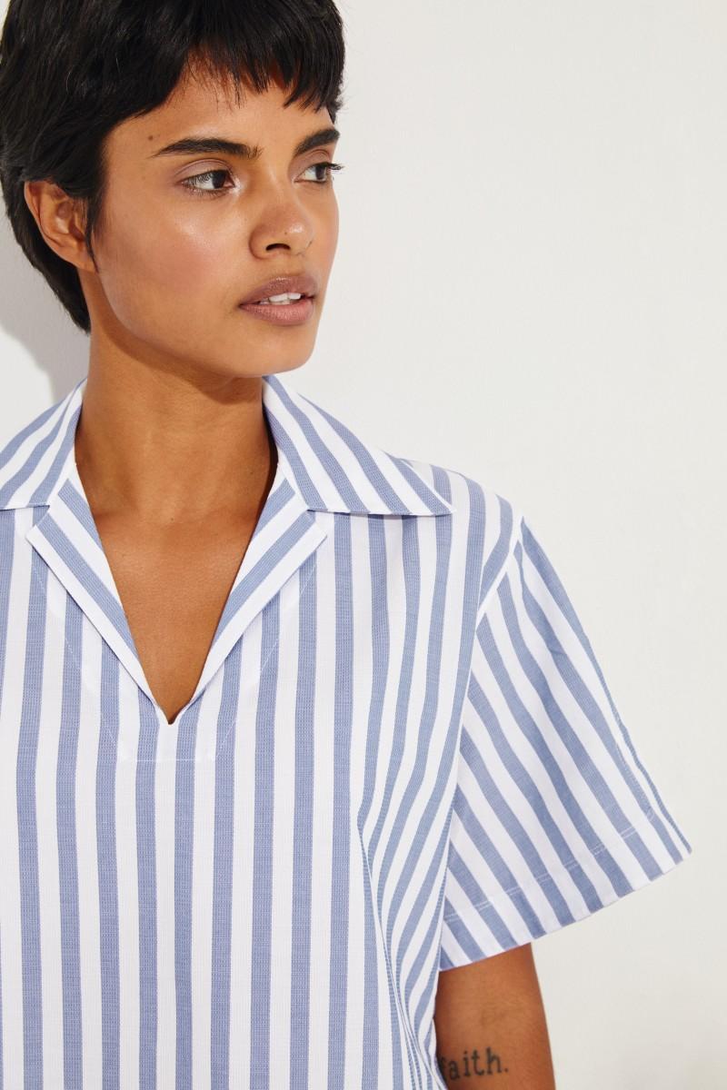 Short sleeve blouse 'Sasha' Blue/White