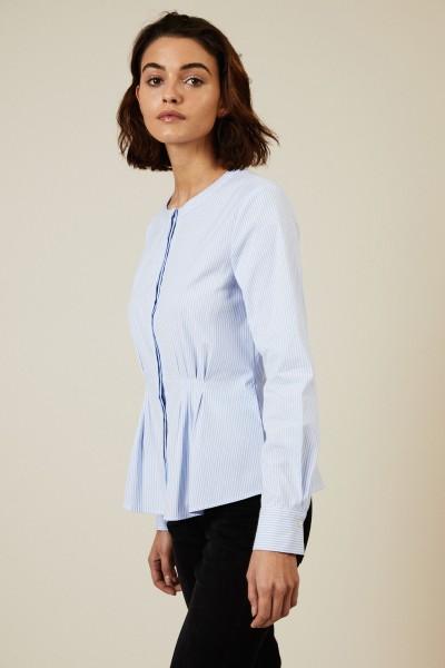 Gestreifte Bluse mit Rundhalsausschnitt Weiß/Blau