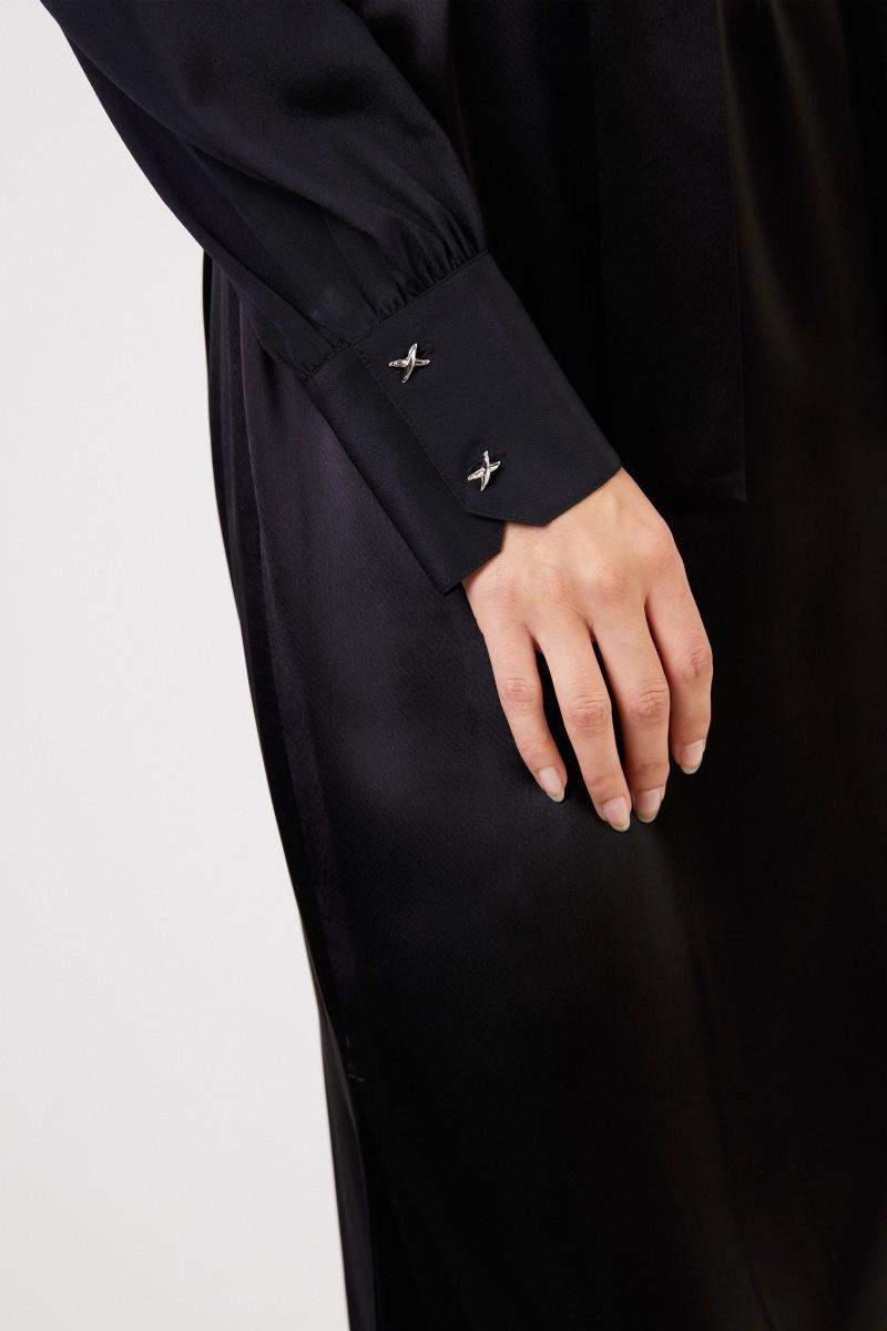 Tory Burch Kleid mit Schleifendetail und Gürtel Schwarz