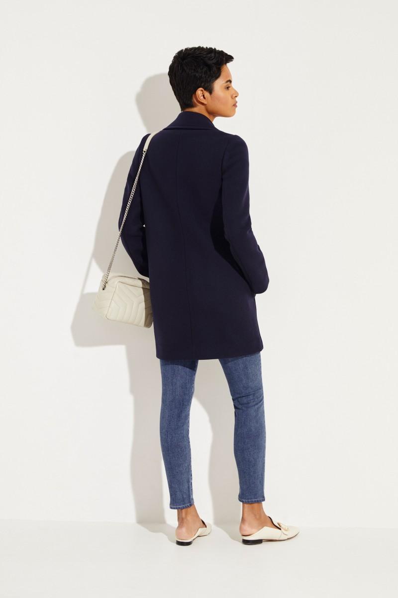 Kurzer Woll-Mantel 'Edith' Blau