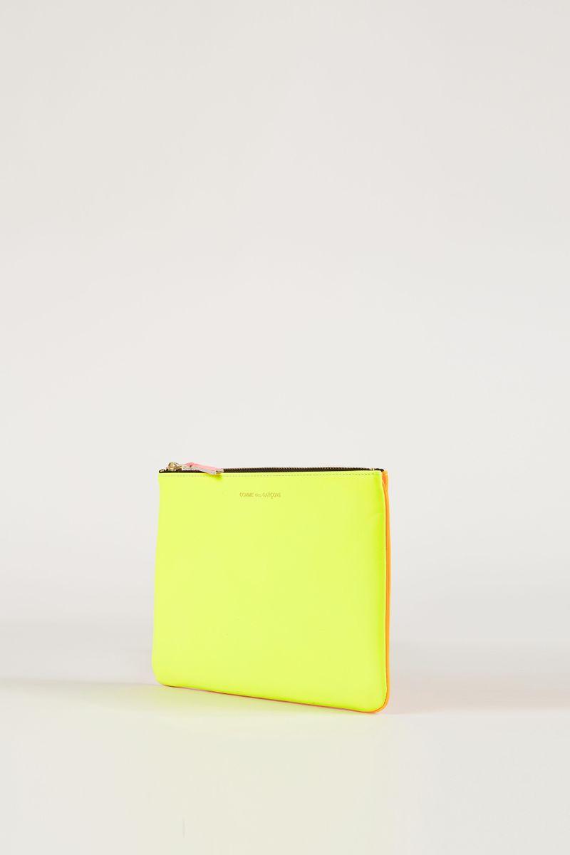 Leder-Clutch zweifarbig Fluo Gelb/Orange