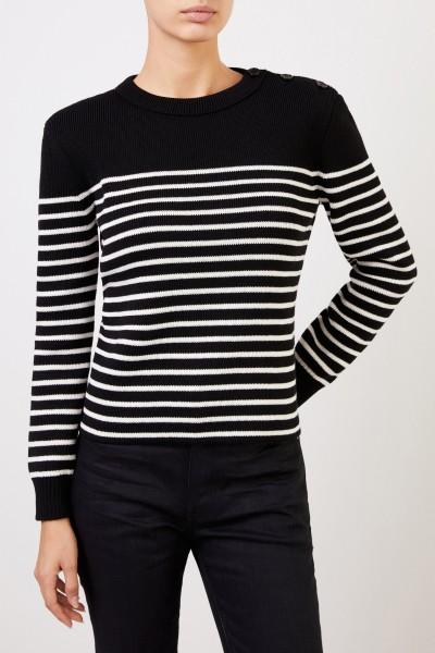 Saint Laurent Gestreifter Pullover mit Knopfdetails Schwarz/Weiß