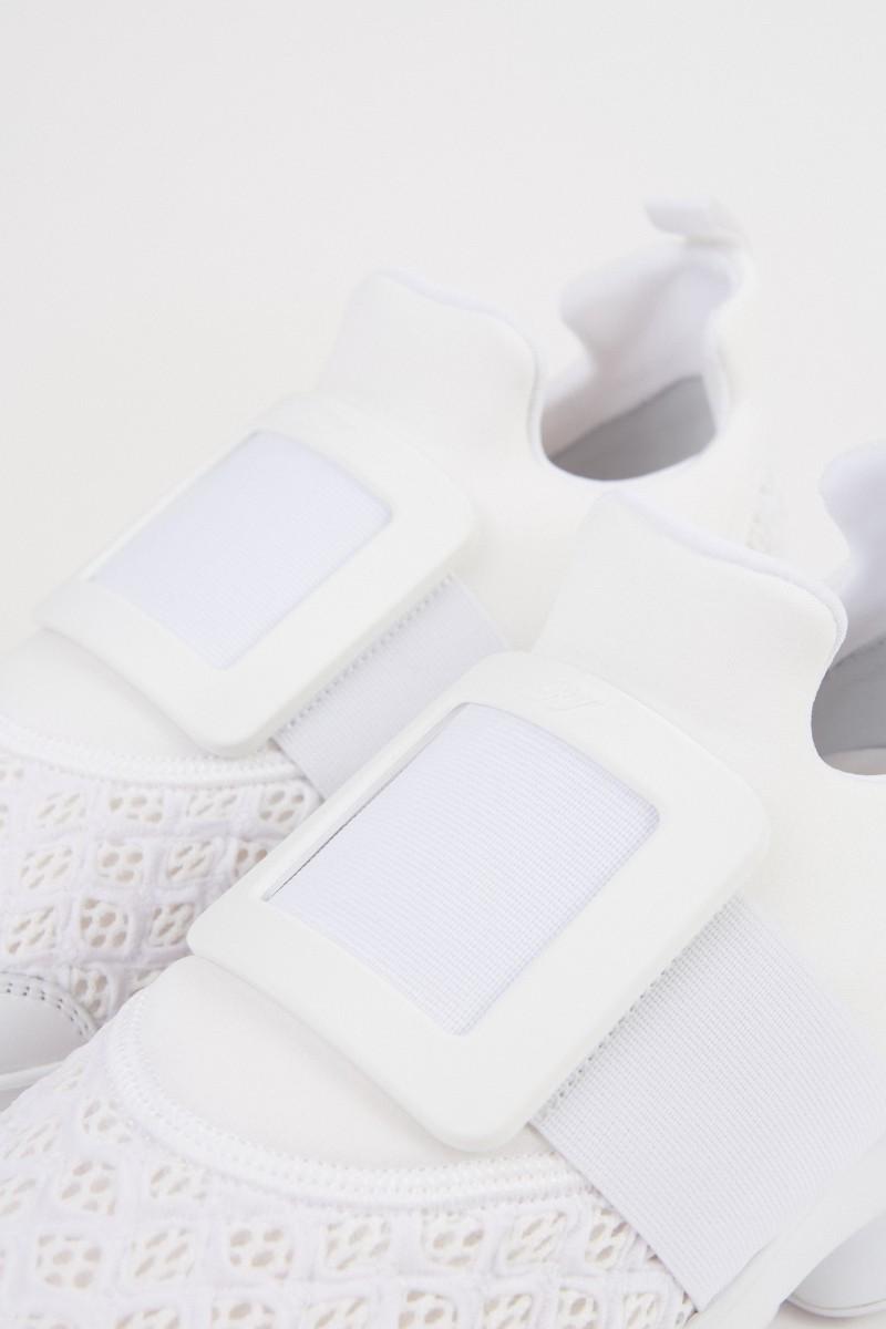 Roger Vivier Sneaker 'Viv Run' mit Schnalle Weiß