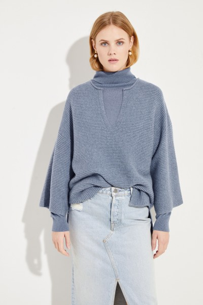Oversize wool cashmere sweater Blue