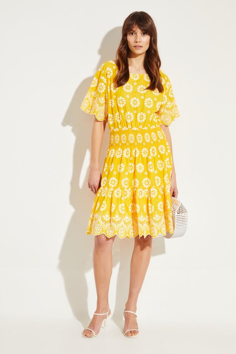 Baumwoll-Kleid mit Stickerei Gelb/Weiß