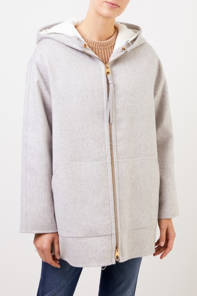 Agnona Gefütterte Cashmere-Jacke mit Kapuze Hellgrau
