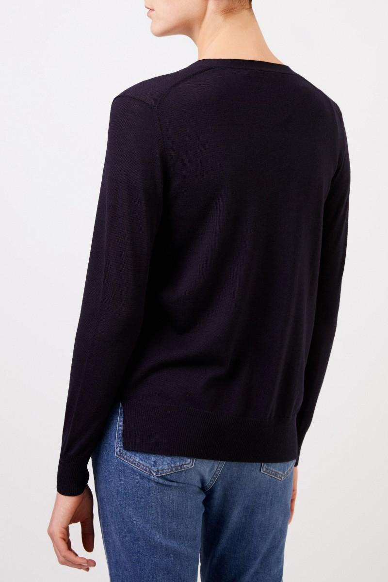 Tory Burch Woll-Cardigan 'Madeline' mit Logo-Knöpfen Marineblau