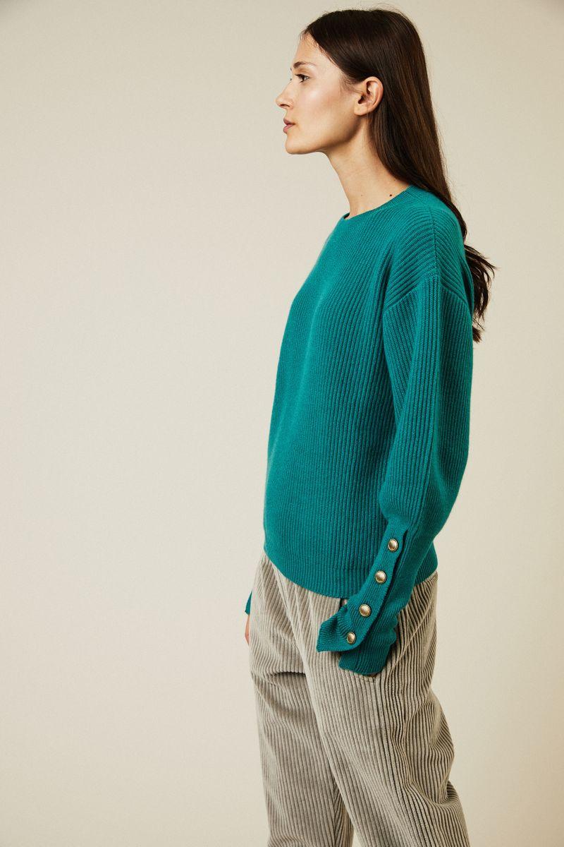 Rippstrick-Cashmere-Pullover Grün