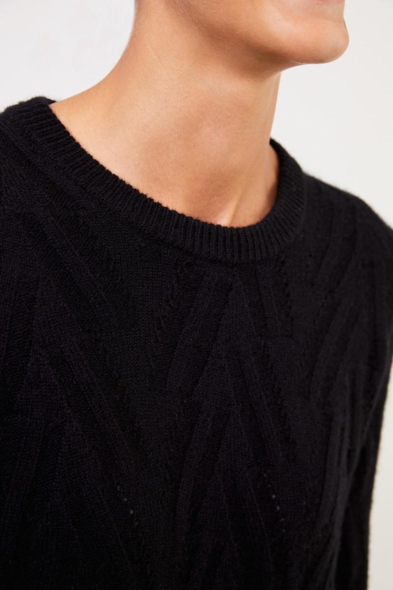 Uzwei Cashmere-Pullover mit Strickmuster Schwarz