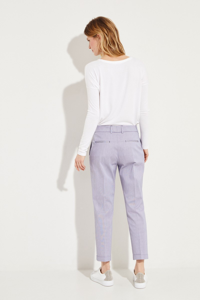 Gestreifte Baumwoll-Hose 'Violette' Blau/Weiß