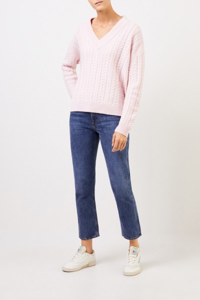 V-neck cashmere pullover with cable stitch Light Pink